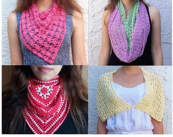 1 pattern FREE. 4 Crochet Scarves Patterns. 2 bandanas + 1 cowl + 1 shawl_ PCS4