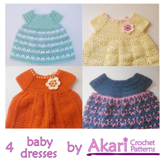 1 Pattern Free 4 Crochet Baby Dresses Baby Girl Dress Etsy