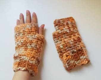 Fingerless gloves easy crochet pattern. Crochet mitts pattern for beginners  // SUNSET mitts pattern _ C48