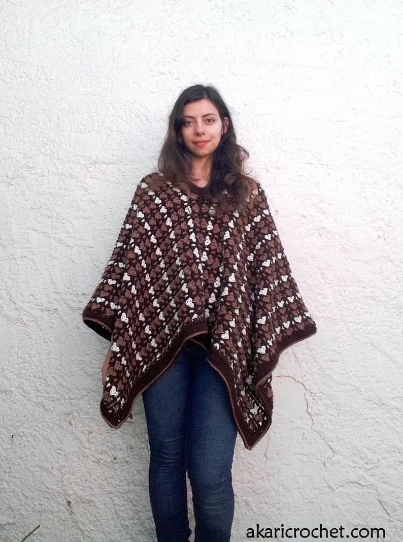 Cozy crochet poncho Pattern. 2 positions // The CARMEN poncho image 0