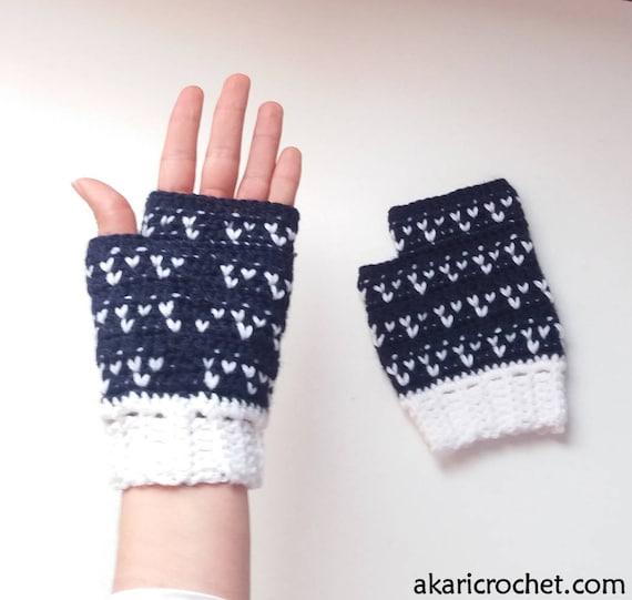 Patrón de guantes de crochet sin dedos// patrón de crochet TRES CORAZONES _  M59