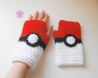 POKEMON mitts crochet pattern for KIDS and adults. Fingerless gloves Poké ball inspired. Easy level // POKEMON mitts crochet pattern _ M38