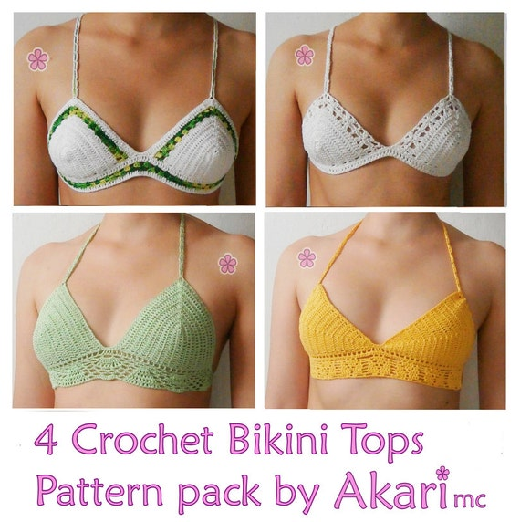 1 Free Crochet Pattern 4 Crochet Bikini Tops Pdf Crochet Etsy