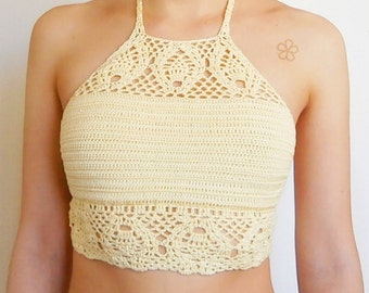 "Boho crochet top pattern. Lace Festival top // The ""TROPICAL"" crop top Crochet Pattern _ C15"