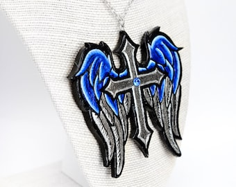 Cross with Wings in Blue and Silver Angel Necklace Pendant Charm | Catholic Christian Cross