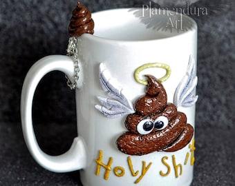 Holy Shit Funny Coffee Tea Gift Mug Polymer Clay One-of-a-Kind Glow-in-the-Dark Halo by ©Plamendura Art