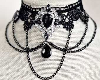 Black Lace Necklace with Black and White Rhinestones with Black Drаped Chains Gothic VIctorian Style