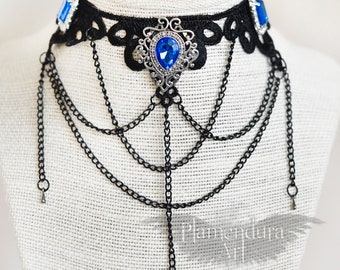 Ice Queen Black Lace Necklace with Blue and White Rhinestones with Black Draped Chains Gothic VIctorian Style