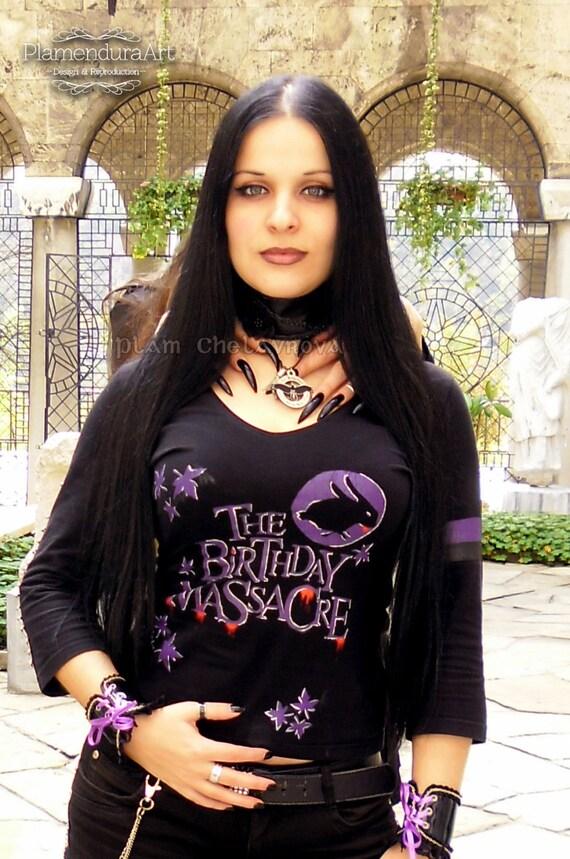 THE BIRTHDAY MASSACRE Hand Painted T Shirt Gothic Metal