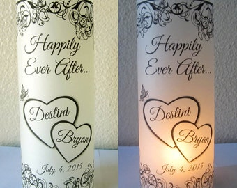 12 Personalized Wedding Centerpiece Luminaries Hearts Table Decoration