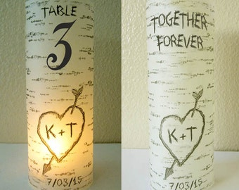 12 Personalized Wedding Centerpiece Luminaries Table Number Birch Tree Decoration