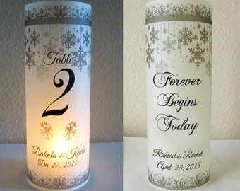 12 Personalized Winter Wedding Centerpiece Luminaries Table Number Decoration Snowflake
