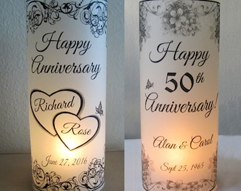 12 Personalized Anniversary Luminary flower Party Table Decoration