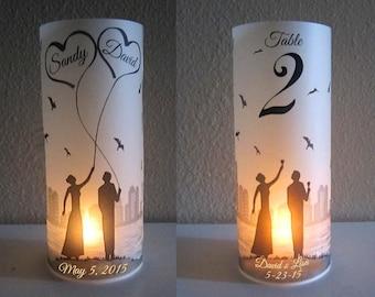 12 Personalized Wedding Centerpiece Luminaries City skyline Table Decoration