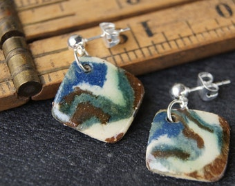Ceramic agateware stud earrings