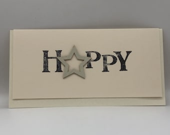 Landscape 'Happy' card with wooden star.