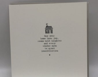 Card 'May your home know joy, rooms hold laughter and every window open to great possibilities'