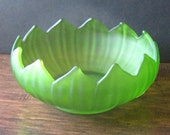 Vintage Westmoreland 1921 Green Frosted Satin Glass 12 Petal 9 quot Lotus Console Flower Frog Bowl