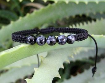 Indigo Gabbro bracelet, Mystic Merlinite stacking wristband, protection gemstone, stone of magic, yoga gift, for him, her, men jewelry