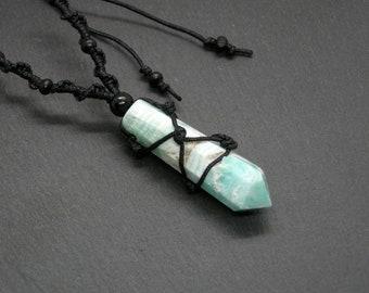 Caribbean Aqua Calcite Pendant, Calcite Aragonite Point Obelisk Necklace, Adjustable Unisex Jewelry
