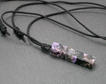 Charoite Aegirine Pendant, Minimal Unisex Amulet  Necklace, Scorpio Sagittarius Zodiac Gift, Men Jewelry