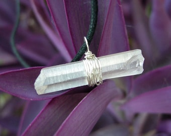 Quartz horizontal pendant, 925 Sterling silver wire, transformer crystal, boho chic necklace, talisman men jewerly, gift for him