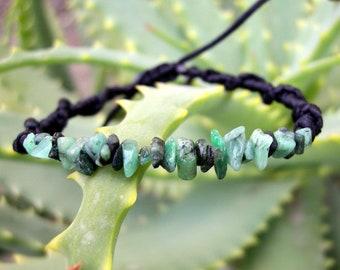 Emerald bracelet, green braided stacking cuff wristband, Taurus stone, love gemstone, May birthstone, yoga gift, for him, her, men jewelry