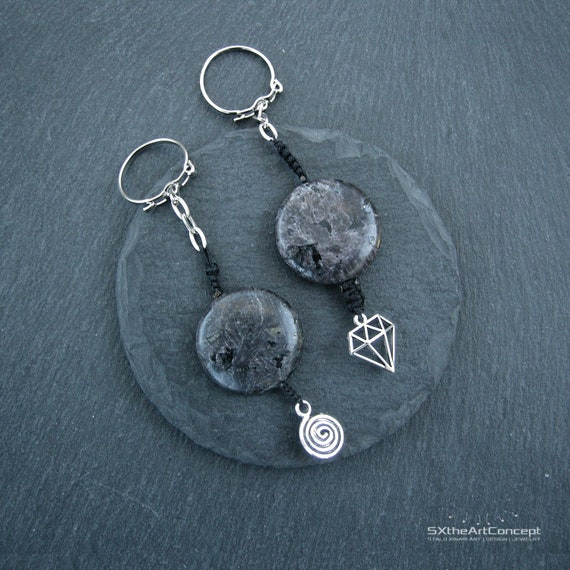 Natural Black Obsidian Keychain Point Obsidian Stone Silver Toned Key Chain