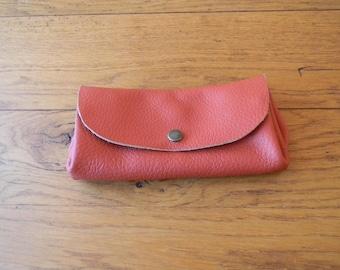Hand made Orange Leather Wallet