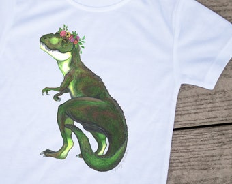 Floral, T-Rex, TRex, Dinosaur, Toddler shirts, Kids tees, Cute kids clothes, Kids clothes, Animal clothes, Monster shirt, Dino girl, flowers