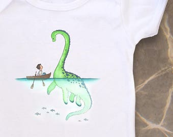 Nessie, Loch Ness Monster, Cute baby bodysuit, Unique baby clothes, Ocean baby shower, Nautical baby, Monster baby, Dinosaur baby, Dino