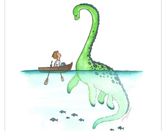 DIY, Loch Ness Monster, Nessie, Sea Monster, Nursery art, Wall decor, baby room, Dinosaur, Plesiosaur, Printable art, Custom digital