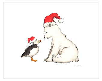 Christmas, Santa, Printable art, Polar Bear, Puffin, Winter art, Nursery art print, Puffin print, baby room decor, custom digital, DIY