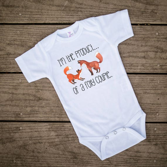 Cute and funny baby romper with fox print Adorable fox baby clothes Foxy baby clothes Modern baby clothes.