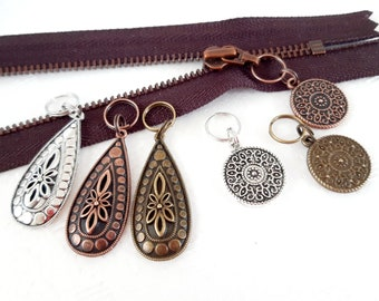 DROPS /& DISKS Charm Jewelry Puller helper Zipper Pendant Bags Jewelry Metal different colors