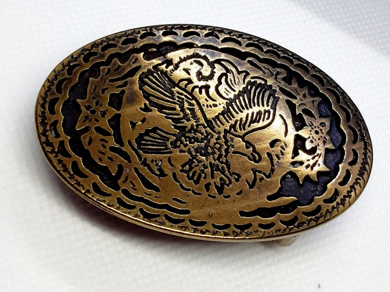 Vintage Belt Buckle Buckle Oval Country Eagle Metal Color Bronze for 30mm Belt Width