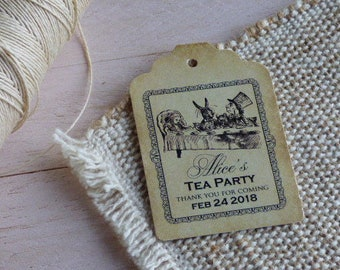 Alice in Wonderland Tags, Shower Tags, Wedding Tags, High Tea Tags. Tea Party Tags. Set of 25 to 300 pieces, Custom Language available.