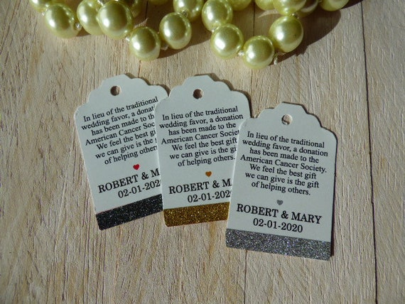 Mini Tags In Lieu Of Favors Tags Glitter Tags Wedding Etsy