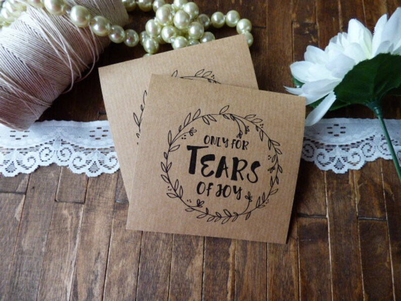 Personalized Rustic tissue packs 20 personalized Tears of Joy Tissue Packs
