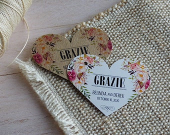 Grazie Tags. Limoncello labels, Custom Thank you Wedding Tags, Custom Wedding Tags. Bridal Shower Tags. Set of 25 to 300 pieces