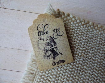 Alice in Wonderland Tags, Take me Tags, Wedding Tags, High Tea Tags. Tea Party Tags. Set of 25 to 300 pieces, Custom Language available.