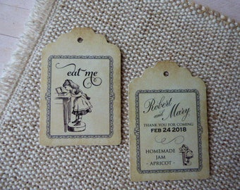 Alice in Wonderland Tags, Eat me Tags, Wedding Tags, High Tea. Tea Party. Double sided. Set of 25 to 300 pieces, Custom Language available.