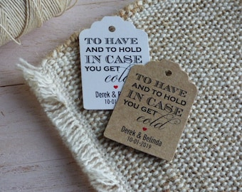MINI TAGS. To have and to hold in case you get cold Tags, Pashmina Tags, Winter wedding Tags, Custom Wedding Tags. Set of 25 to 300 pieces