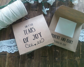 20 Personalized Tears of Joy Tissue Packs, For Tears of Joy Wedding Tissues.