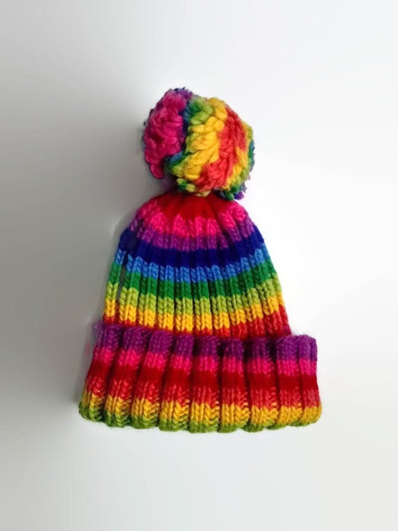 dfd13e62c91 Rainbow hat with pom-pom hand knitted slouchy beanie