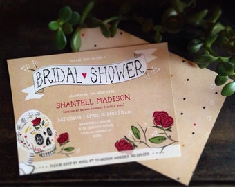 Customizable Sugar Skull Bridal Shower Invites