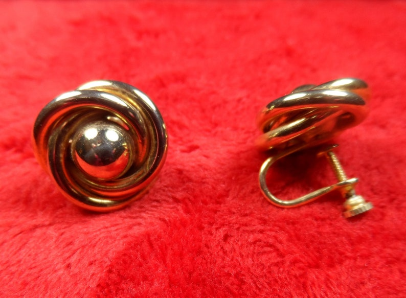1c695571a Vintage Jewelry Classy Gold tone Love Knot screw back Earrings   Etsy