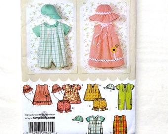 Simplicity Babies Romper,Dress,Top,Panties & Hat Pattern #4243-Size XXS(0-7lbs),XS (7-13lbs),S(13-18lbs),M(18-21lbs),L(21-24lbs)  UNCUT F/F