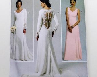 "Butterick Bridal or Bridesmaid Gown Pattern #B5779 - Size 12-20 (Bust 34""-42"") - Princess Seams w/Peek-A-Boo Lace Back - UNCUT F/F"