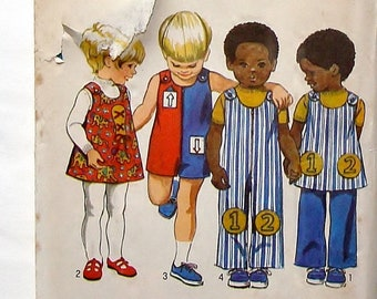 Vintage 1971 Simplicity Toddler Sewing Pattern #9640 - Size 4 (Breast 23) - Jumpsuit, Jumper and Pants+Applique Transfer - Cut and Complete